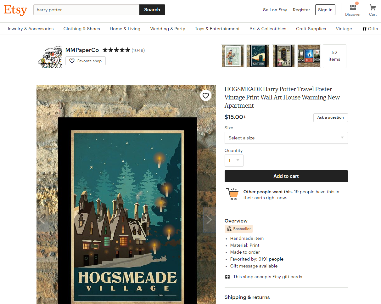 copyright violation, trademark violation, Etsy copyright violation, Harry Potter copyright violation, derivative work